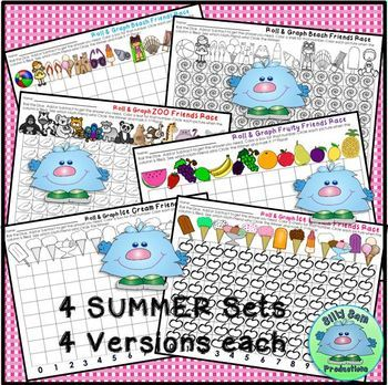 ROLL & GRAPH SUMMER MATH CENTERS Addition - Subtraction Partner Math