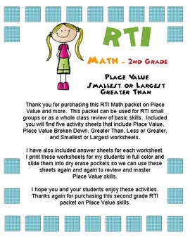 Math RTI Place Value Packet Worksheets