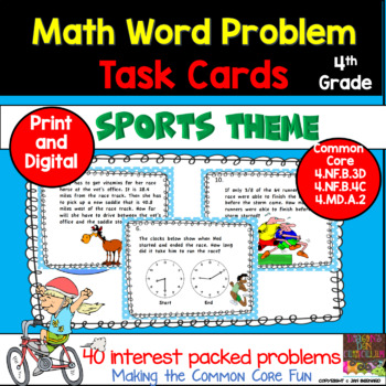 4th Grade Math Race Math Word Problem Task Cards