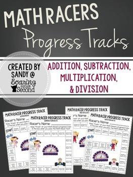 Math Racer Student Progress Tracks FREEBIE