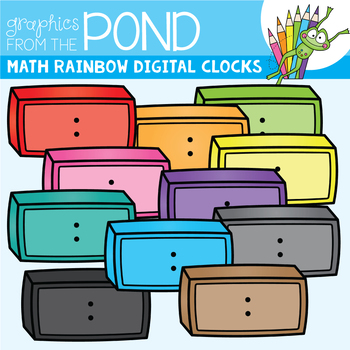 Math Rainbow of Digtal Clocks Clipart Set