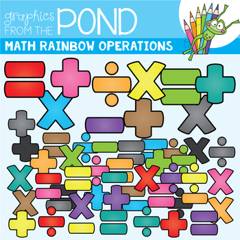 Math Rainbow of Operation Symbols Clipart Set