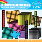 Math Rainbow of Place Value Blocks Clipart Set