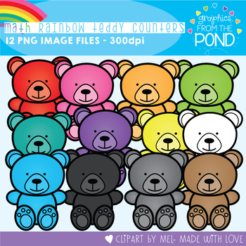 Math Rainbow of Teddy Counters Clipart Set
