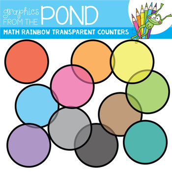 Math Rainbow of Transparent Counters Clipart Set