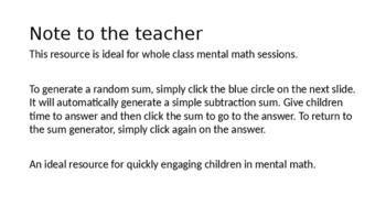 Math  Random Subtraction Sum Generator
