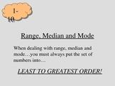 Math-Range, Median, Mode
