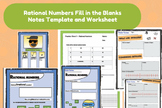Math: Rational Numbers Unit Notes and Worksheet. Common Core 8.1A