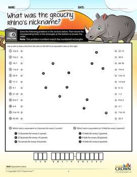 Math Ratios and Percents Worksheets - Math Riddles - 4th–7th Grade - Common Core