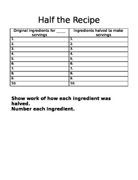Math Recipe Project with Fractions
