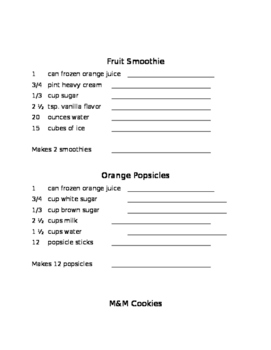 Math Recipes to Multiply