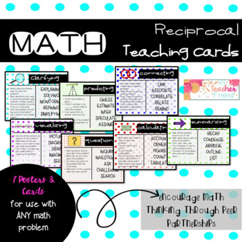Math Reciprocal Teaching Cards and Anchor Chart Posters