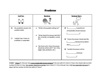 Math Reciprocal Teaching Role Cards