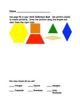 Math Reference Book Practice with Patterns