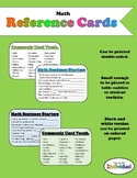 Math Reference Cards: Sentence Starters and Vocabulary