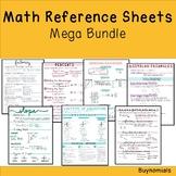 Math Reference Sheets Bundle: Algebra I, Algebra II, Geometry