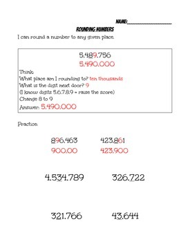 Rounding Numbers Handout 4th Grade Common Core