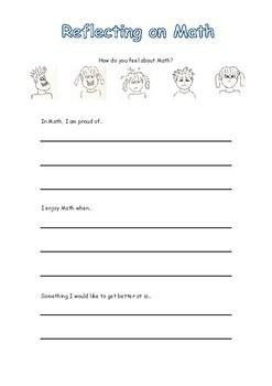 Math Reflection + Goal Setting Form