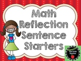 Math Reflection Sentence Starter Cards