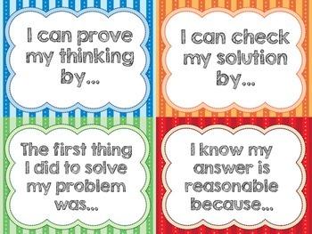 Math Reflection Sentence Starter Cards