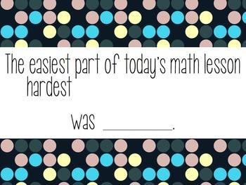 Math Reflection Sentence Starters