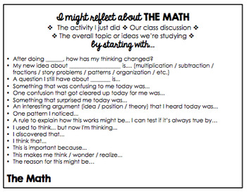 Math Reflection Tools - Thinking About Our Math Thinking