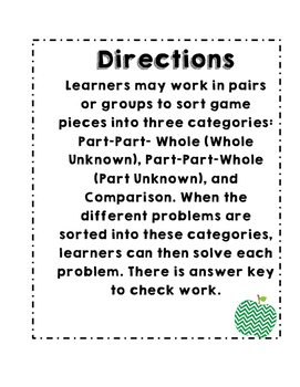 Math Relationship Word Problem Sorting Game