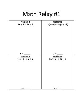 Math Relay Solving Equations with Variables on Both Sides