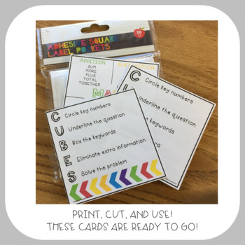Math Reminder Cards (for Adhesive Target Pocket Labels)