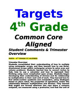 Math Report Card Comments - 4th Grade - Common Core Aligned