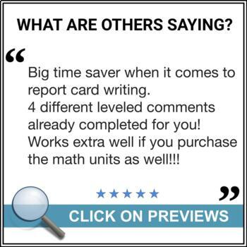 grade 7 report card  Report Card Comments - Ontario Grade 7 Math - EDITABLE