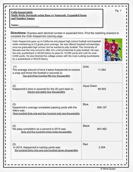 Grade 5 Math: Representing Decimals, Comparing Decimals - Colin Kaepernick