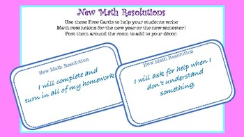 Math Resolution Cards