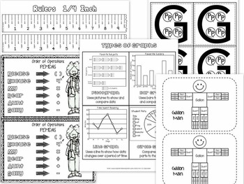 Math Resource Bundle - Manipulatives / Tools / Reference Cards / Organizers...
