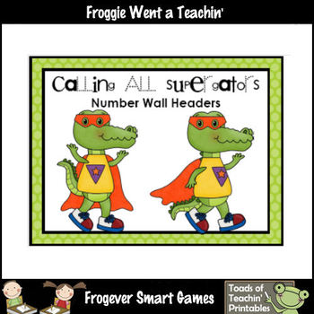 "Number Wall Posters/Headers--Number Sense ""Calling All Supergators"""
