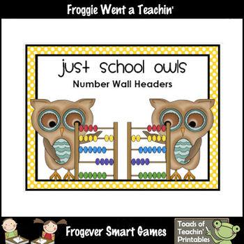 """Number Wall Posters/Headers--Number Sense """"Just School Owls"""""""