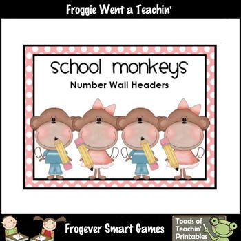 """Number Wall Posters/Headers-- Number Sense """"School Monkeys"""""""