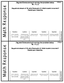 Math Response Sheets: Fifth Grade - Covers ALL Standards