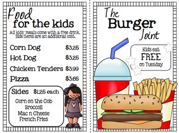 Math Restaurant Menu - The Burger Joint (4th  - 5th)