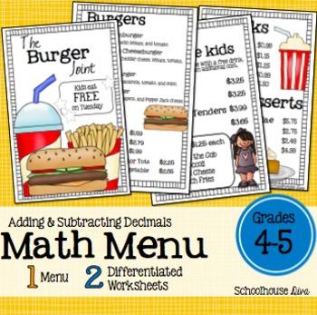 Math Restaurant Menu - The Burger Joint (4th  - 5th)