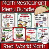 MATH RESTAURANT MENU BUNDLE - Real World Math Grades 3-5