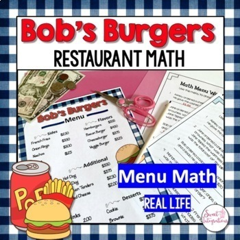 MATH RESTAURANT MENU FAST FOOD - Real World Math Grades 3-5