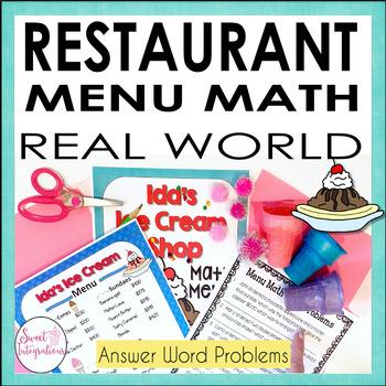 MATH RESTAURANT MENU ICE CREAM SHOP - Real World Math Grades 3-4