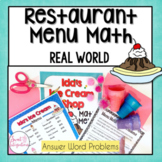 MATH RESTAURANT MENU   ICE CREAM SHOP   Real World Math Problems