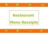 Math - Restaurant Menu Receipts