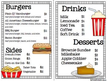 Math Restaurant Menu - The Burger Joint (2nd - 3rd)