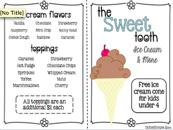 Math Restaurant Menu - The Sweet Tooth (2nd - 3rd)