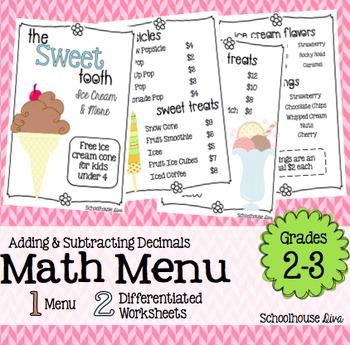 Math Restaurant Menu - The Sweet Tooth (2nd - 3rd)