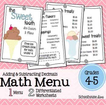 Math Restaurant Menu - The Sweet Tooth (4th - 5th)