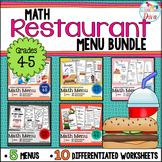 Math Restaurant Menus Bundle (4th - 5th)